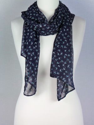 Churchill Navy Blue Chiffon Scarf with Flying Birds Print