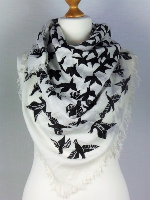 Egyption Style Viscose Scarf With Flying Birds
