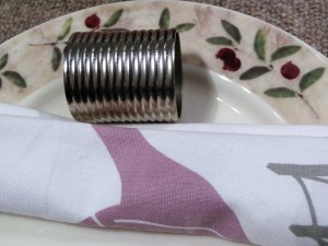 Set of 4, Brass Napkin Ring Stripe Silver Plated