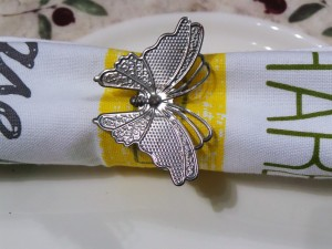 Set of 4, Galvanised Nickel Plated Butterfly Napkin Ring