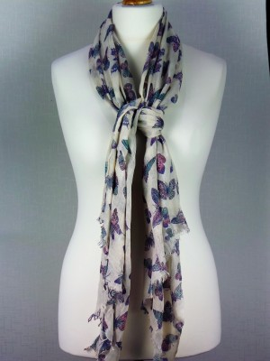 Picadilly Style Viscose Scarf with Large Butterfly Design