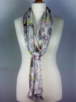 Ethina Light Weight Fine Cotton Scarf with Flower Design Print, Multi
