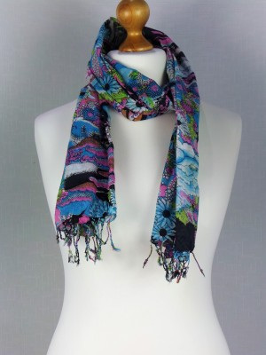 Multi Color Paris Cotton Scarf with wide Rope Fringes