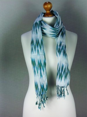 Lightning Green Print Fine Cotton Scarf with rope knitted frills