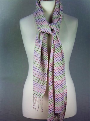 Venice Style White & Dotted Viscose Scarf with Fringes