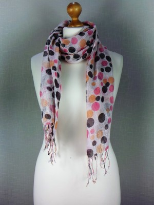 French Large Dotted Viscose Scarf on Off White Background