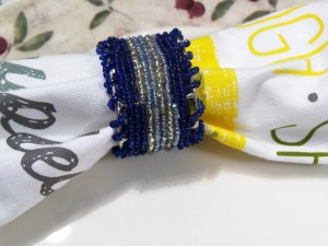 Set of 4, Multicolored Beaded Napkin Ring