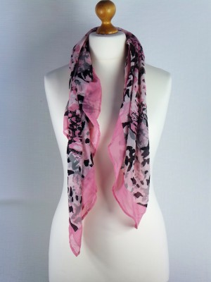 Victoria Pink Cotton Scarf with Sparrow Print, Multi
