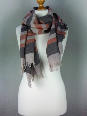 Ritz Light Viscose Grey Scarf with Stripe