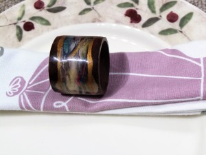 Set of 4, Wooden Painted Napkin Ring