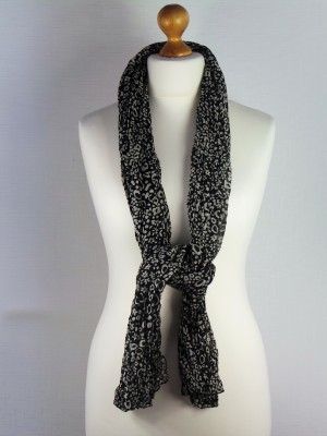 Barbican Style 100% Cotton Black Leopard Print Scarf