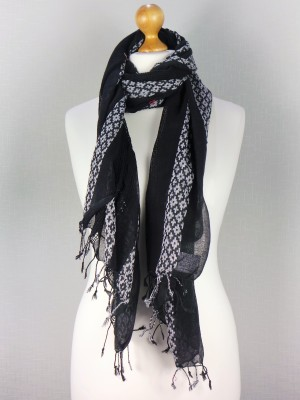 Hannah Black Light Weight Fine Cotton Scarf