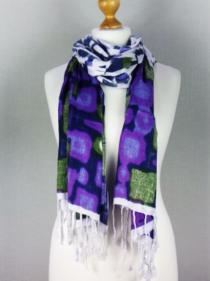 Belgravia Blue Viscose Scarf with Cloud Print, Multi
