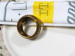 Set of 4, Brass Engraved Napkin Ring