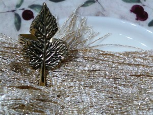 Set of 4, Brass Leaf Napkin Ring