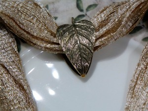 Set of 4, Brass Double Leaf Napkin Ring in Bronze Antique finish
