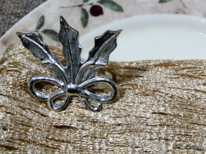 Set of 4, Brass Leaf Napkin Ring Silver Plated