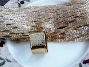 Set of 4, Brass Square Hammered Napkin Ring