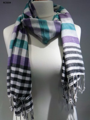 Alfred White Check Viscose Scarf
