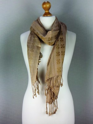 Regal Nights Choco Brown Viscose Scarf With Fringes