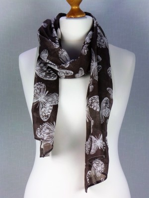 Bahamas Brown Large Butterfly Cotton Scarf