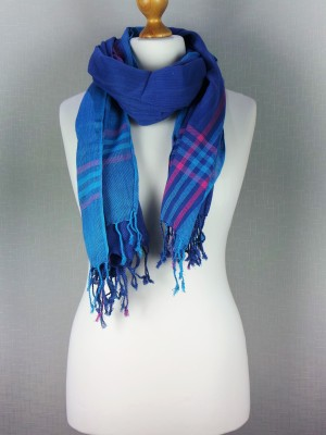 Kingston light Blue Cotton Scarf with faded check design