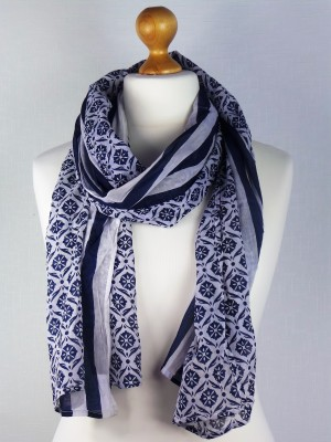 Sky Blue Cotton Scarf with wide Stripes and flower design