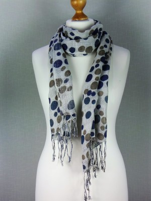 Classic French Large Dotted Viscose Scarf on Off White Background