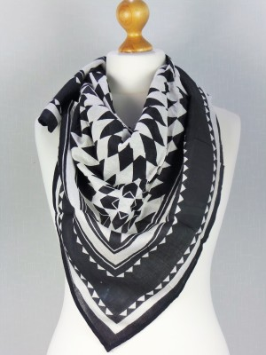 Pharoh Black & White Solid Egyption design Hand Made Cotton Scarf