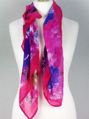 Club Red Viscose Scarf With Multi Color Design
