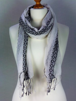 Hannah White Light Weight Fine Cotton Scarf